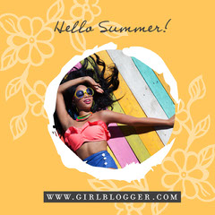 Orange Hello Summer Instagram Graphic Hello