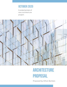 Blue and White Architecture Proposal with Modern Glass Building Offerta