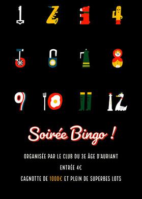 Multicolour Bingo Night Invitation Card Flyer événement
