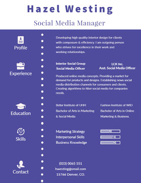 Violet and White Social Media Manager Resume Professional Resume