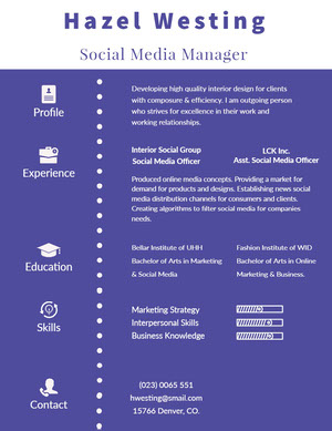 Violet and White Social Media Manager Resume Resume  Examples