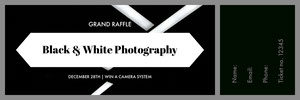 Black and White Photography Ticket Billet de tombola
