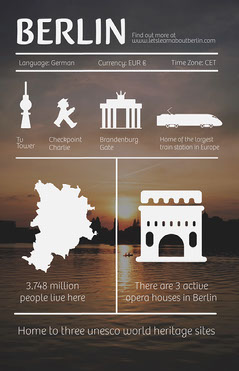 Sunset Colors Berlin Germany Infographic Flyer Lake