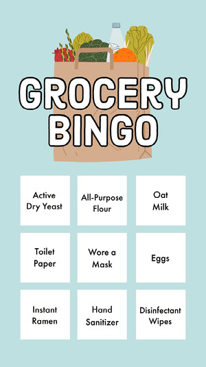 Blue Illustrated Coronavirus Grocery Bingo Card Carta da bingo