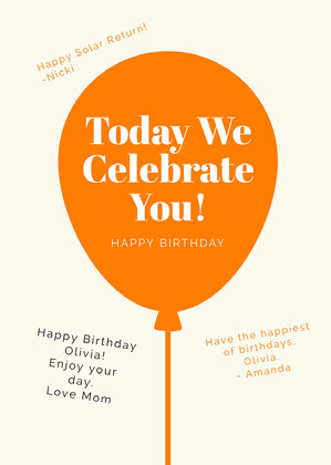 Orange Balloon Shareable Group Birthday Card Group Birthday Card