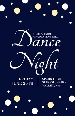 Navy and White Hight School Dance Night Poster Christmas Party