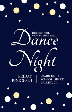 Navy and White Hight School Dance Night Poster School Dance Flyer