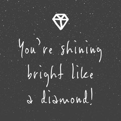 Black and White Shine Bright Like a Diamond Instagram Square Teacher