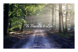 Travel Quote Postcard with Road in Forest Vykort