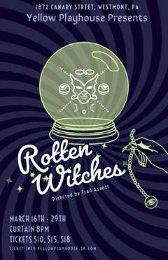 Navy Blue and White Rotten Witches Play Poster Play Poster