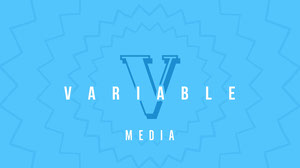 Blue and White Variable Media Facebook Page Cover Text Logo