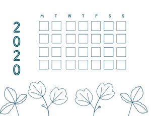 Blue and White Empty Calendar Card Månedskalender