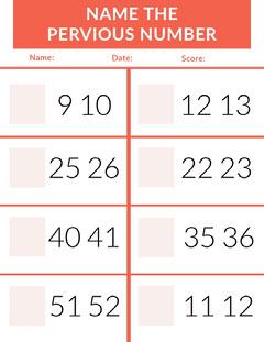 Orange Mathematics School Worksheet with Numbers Math