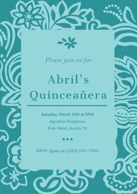 Blue Floral Quinceanera Birthday Invitation Card Birthday Invitation