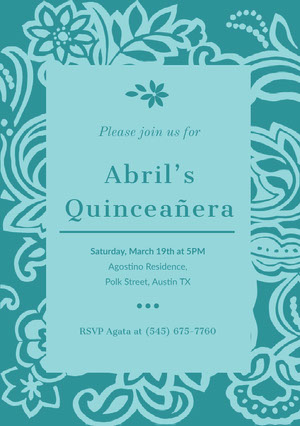 Blue Floral Quinceanera Birthday Invitation Card Invitación de quinceañera