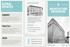 Blue White and Grey Architecture Newsletter Brochure  Open House Flyer
