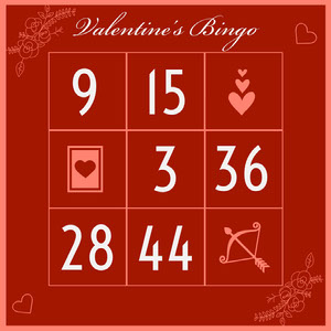 Red Elegant Calligraphy Valentines Day Bingo Card Carta da bingo