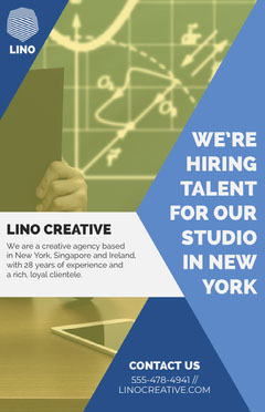 Yellow and Blue Modern Creative Agency Open Position Job Poster Job Poster
