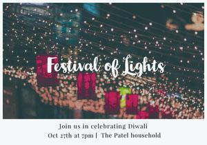 Light, Bright, Illuminated Diwali Holiday Invitation  Diwali