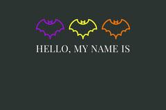 Black Halloween Bat House Party Name Tag Halloween Party Name Tag