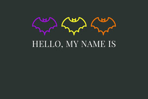 Black Halloween Bat House Party Name Tag Nimikortti