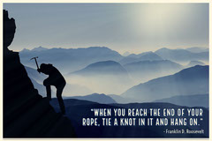 Inspirational Quote Postcard with Silhouette of Mountain Climber Mountains
