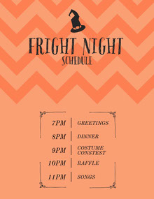 Fright Night Halloween Party Schedule 行程表
