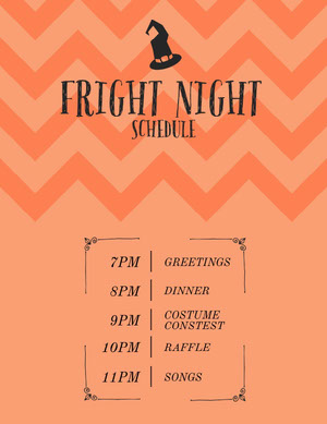 Orange Zig Zag and Witch Hat Halloween Party Schedule Agenda