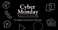 Black and White Cyber Monday Ad Facebook Banner Photo de produit Amazon