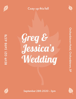 Orange and White Wedding Announcement Anúncio de casamento