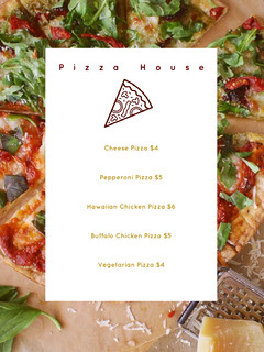 White and Slices of Pizza Restaurant Menu Pizza