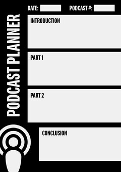 Black and White Podcast Planner A4 Grey
