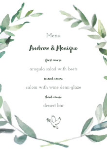 White and Green Wedding Menu Menu bruiloft
