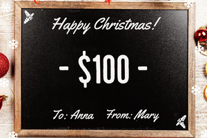 Blackboard Christmas Coupon Bon