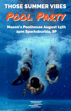 Blue and White Pool Party Poster Pool Party Invitation