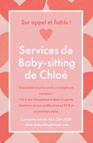Services de<BR>Baby-sitting <BR>de Chloé Prospectus commercial