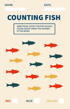 Counting Fish Math School Worksheet Math