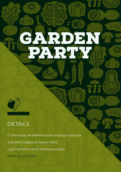 Green Outdoor Garden Party Invitation Card Garden