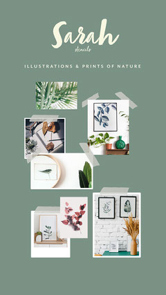 green cream collage prints illustrations work examples instagram story  Shopping