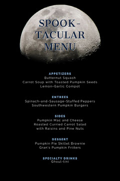 Moon Halloween Costume Party Menu Moon
