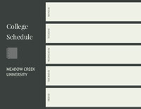 Black and Green Empty Schedule Studiekalender