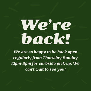 Dark Green Confetti and Typography Business Reopening Announcement Instagram Square COVID-19 Re-opening