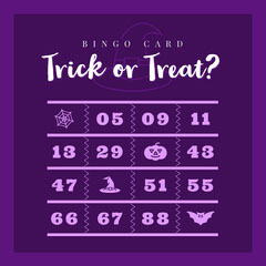 Halloween Trick Or Treat Party Bingo Card Halloween Party Bingo Card
