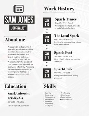 Black and White Journalist Resume Resume  Examples