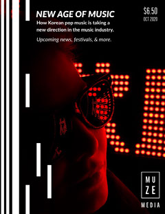 Lights Neon Music Magazine Cover Neon