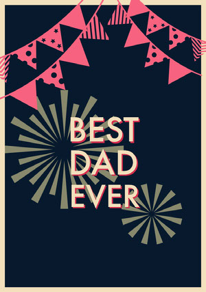 Black Red and Yellow Father's Day Card Vatertagskarten