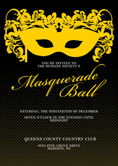 black and gold masquerade invitation  Masquerade Invitation