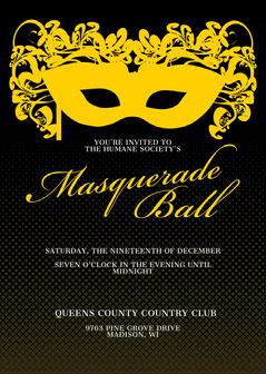 black and gold masquerade invitation  Gala Flyer