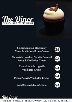 diner seasonal dessert menu  Dessert