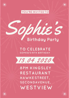 Pink Girl's Birthday Party Invitation Christmas Party